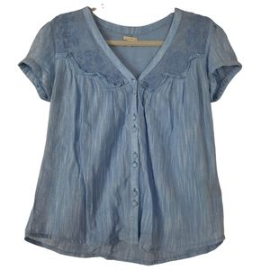 Urban Outfitters Ecote Blue Short Sleeve Blouse